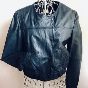 Velour black leather bomber jacket. Nearly new, M.